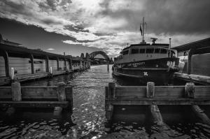 Circular Quay through to Sydney Harbour Bridge.